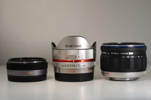 Panasonic 14mm f/2.5, Samyang 7.5mm f/3.5, Olympus 14-42mm f/3.5-5.6