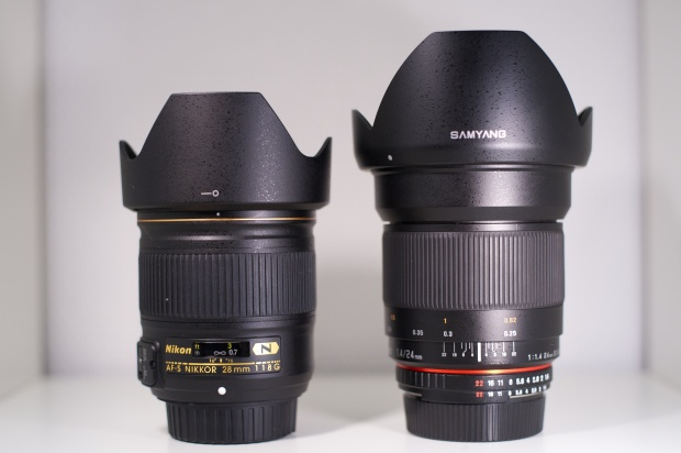 Nikkor AF-S 28mm f1.8G VS Samyang 24mm f1.4